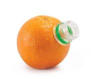 Arancio con il collo della bottiglia immagini stock