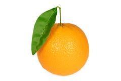 Arancio con il foglio Immagini Stock