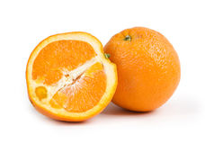 Arancio con la metà isolata Fotografia Stock