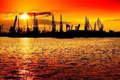 Arancio di industria di tramonto Fotografia Stock Libera da Diritti