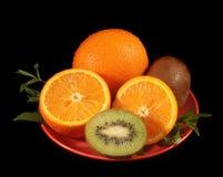 Arancio e kiwi affettati Fotografie Stock