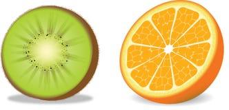 Arancio e Kiwi di vettore Fotografie Stock