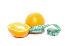 Arancio e nastro di misura Fotografia Stock Libera da Diritti