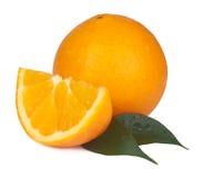 Arancio isolato su bianco Fotografia Stock Libera da Diritti