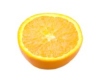 Arancio maturo diviso in due Fotografie Stock