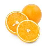 Arancio, metà e fetta Fotografia Stock