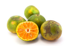 Arancio su priorità bassa bianca Fotografia Stock