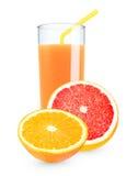 Arancio - succo di pompelmo Fotografie Stock Libere da Diritti
