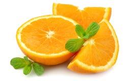 Arancio sugoso con la menta Fotografia Stock