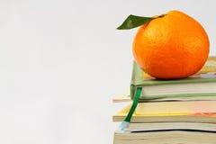 Arancio vicino in su sui libri isolati Fotografia Stock