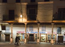 Aranda de Duero (Spain). ARANDA DE DUERO, SPAIN - DECEMBER 27, 2014: One of the streets of the old town at night Royalty Free Stock Images
