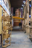 Aranda de Duero (Spain). ARANDA DE DUERO, SPAIN - DECEMBER 27, 2014: A store selling wicker baskets in one of the streets of the old town at night Royalty Free Stock Image