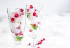 Arando fresco em cubos de gelo nos vidros no modelo branco do fundo Fotos de Stock Royalty Free