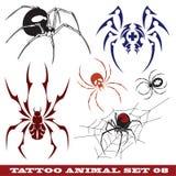 Aranha dos moldes para o tatuagem ilustração do vetor