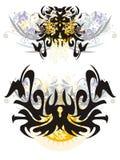 Aranha e borboleta pretas terríveis Fotografia de Stock Royalty Free
