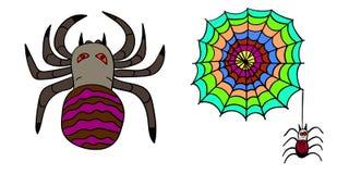 aranha 2 e teia de aranha para Dia das Bruxas ilustração stock