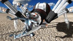 Aranha mecânica do robô do horror da máquina ilustração royalty free
