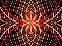 Aranha vermelha Teste padrão simétrico abstrato de listras vermelhas e amarelas em um fundo preto Fotografia de Stock