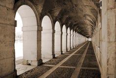 Aranjuez. Ancient exterior hallway of Royal Palace in Aranjuez, Madrid Royalty Free Stock Photos