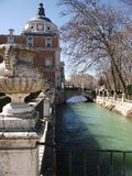 Aranjuez, Spain, South of Europe. A spectacular view of the amazing Palace of Aranjuez, at Madrid's Region Royalty Free Stock Image