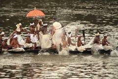 Aranmula Boat race. Oarsmen rowing in snake boats participating at Aranmula Boat race  in Aranmula 2010, Kerala, India Stock Photo