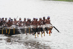Aranmula Boat race. Oarsmen rowing in snake boats participating at Aranmula Boat race  in Aranmula 2010, Kerala, India Stock Photography