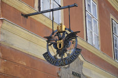 Arany Sas Patika, Budapest. Photograph of the sign of the oldest pharmacy in Buda, Hungary Royalty Free Stock Images