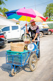 Aranyaprathet, Thailand : Man cambodian trolley. Man cambodians cart at The Rong Kluea Market which is attached to the Cambodian border. At Aranyaprathet Stock Images