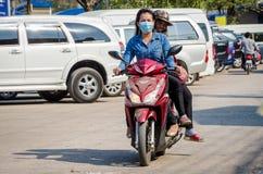 Aranyaprathet, Thailand : Womem cambodian riding. Stock Images