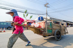 Aranyaprathet, Thailand : Women cambudian trolley. Women cambodians pull cart at The Rong Kluea Market which is attached to the Cambodian border. At Stock Image