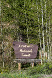 Arapaho national forest sign in colorado Stock Images
