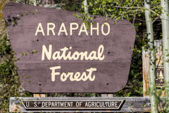 Arapaho national forest sign in colorado Royalty Free Stock Photo