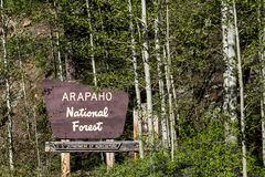 Arapaho national forest sign in colorado Royalty Free Stock Photography