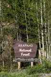 Arapaho national forest sign in colorado Stock Photography