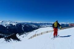 Arapahoe Basin Blue Bird Day: Skier & Montezuma Bowl stock photos