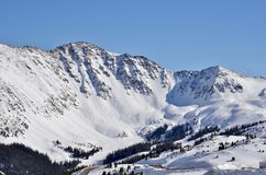 Arapahoe Basin Ski Area Blue Bird Day: Views from Loveland Pass, Colorado. Located in Summit County near Dillon, Silverthorne and Loveland Pass, Arahapoe Basin stock images