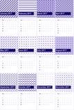 Arapawa和玫瑰花上色了几何样式日历2016年 免版税库存图片
