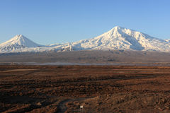 Ararat. Mountain Ararat -  view from Armenia in winter Royalty Free Stock Photos