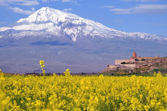 Ararat in Armenia. Khor Virap monastery near Ararat volcano in Armenia Royalty Free Stock Image