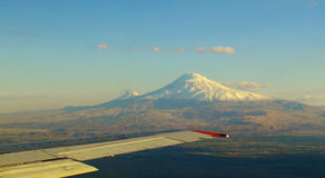 Ararat, Armenia. Famous biblical mount Ararat from Airplane Royalty Free Stock Images