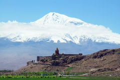 Ararat in Armenia. Khor Virap monastery near Ararat volcano in Armenia Royalty Free Stock Photos
