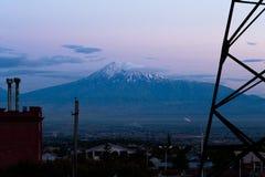 Ararat in the evening, Yerevan, Armenia. Horizontal shot Royalty Free Stock Photos