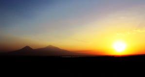 Ararat-Gebirgssonnenuntergang Stockfoto