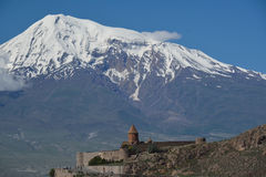Ararat and Khor Virap. Khow Virap with the tourists and Ararat in the far Stock Photography