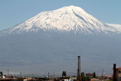 Ararat mountain. Near Dogubayazit in Turkey is 5137 meters high. You can- not miss it Royalty Free Stock Photography