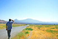 Ararat mountain. Man walking to Ararat mountain in Armania Stock Images