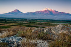 Ararat mountain. Big and little Ararat mountain during dramatic sunrise, symbol of Armenia Stock Photography