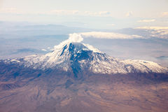 Ararat mountain in Caucasus. From airplane window stock images