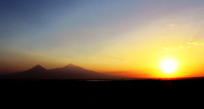 Ararat mountain sunset. This is Armenia: Ararat holy mount: Sunset Ararat: Ararat is a holy mount in Armenia Stock Photo