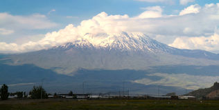 Ararat mountain. View near Dogubayazit town in east of Turkey Royalty Free Stock Photo